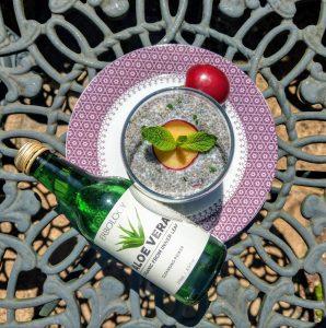 Aloe chia dessert: plum, coconut and mint