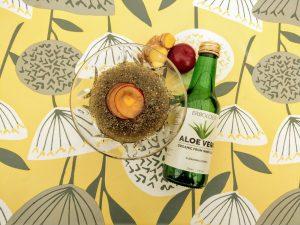 Aloe chia dessert: plum, ginger and chamomile