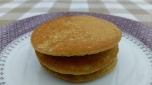 Lemon and poppyseed pancake stack
